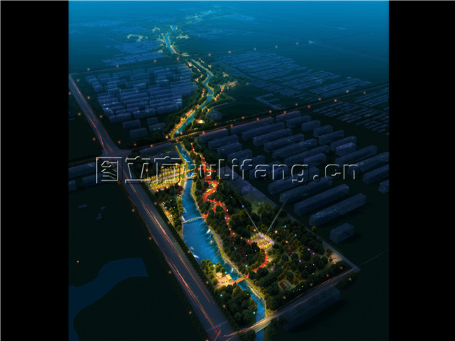 河道景观效果图